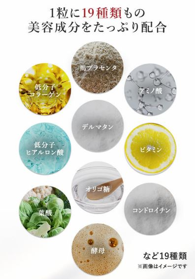 エイジストサプリメント成分は19種類もの美容成分をたっぷり配合