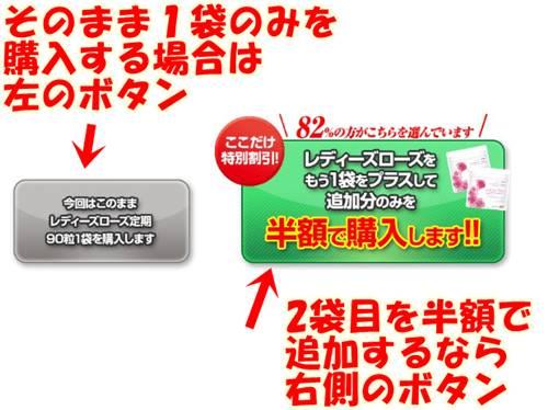 1袋だけの注文をするなら、左側のボタン。もう1袋半額で追加するなら右側のボタンから注文できます